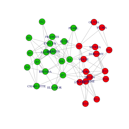 plot of David communities with Colouring Community Nodes